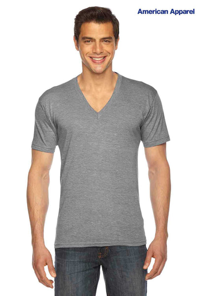 American Apparel TR461 Athletic Grey USA Made Triblend Short Sleeve V-Neck T-Shirt Front