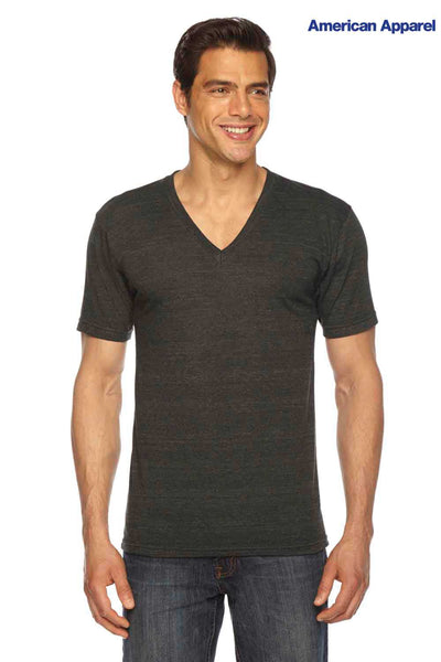 American Apparel TR461 Black USA Made Triblend Short Sleeve V-Neck T-Shirt Front