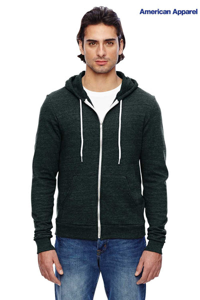 American Apparel TRT497W Black Triblend Hooded Sweatshirt Hoodie Front
