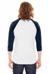 American Apparel BB453 White/Navy Blue  Back
