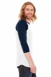 American Apparel BB453 White/Navy Blue  Side