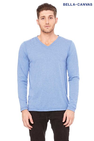Bella + Canvas 3425 Blue Cotton Jersey Long Sleeve V-Neck T-Shirt Front