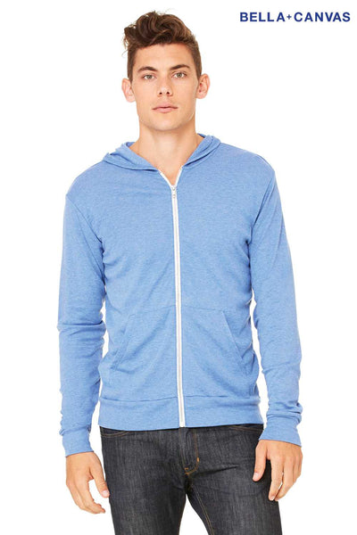 Bella + Canvas 3939 Athletic Blue Lightweight Triblend Hooded Sweatshirt Hoodie Front