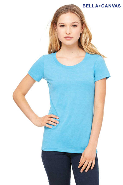 Bella + Canvas B8413 Aqua Blue Triblend Short Sleeve Crewneck T-Shirt Front