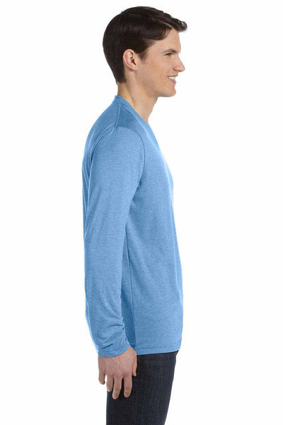 Bella + Canvas 3425 Blue Cotton Jersey Long Sleeve V-Neck T-Shirt Side