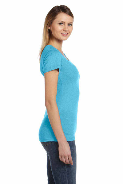 Bella + Canvas B8413 Aqua Blue Triblend Short Sleeve Crewneck T-Shirt Side
