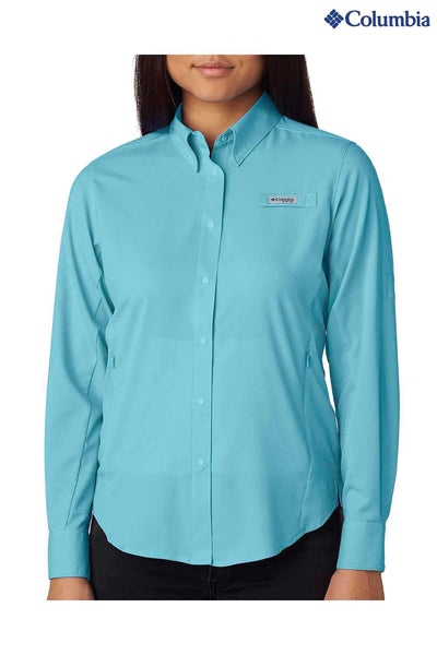 Columbia 7278 Clear Blue Tamiami II Polyester Long Sleeve Button Down Shirt Front