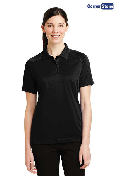 CornerStone CS411 Black Select Snag Proof Polyester Tactical Short Sleeve Polo Shirt Front