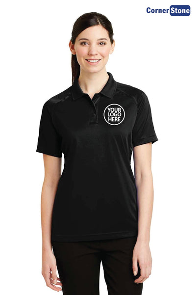 CornerStone CS411 Black Select Snag Proof Polyester Tactical Short Sleeve Polo Shirt Logo