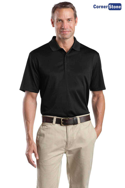 CornerStone CS412 Black Select Snag Proof Polyester Short Sleeve Polo Shirt Front