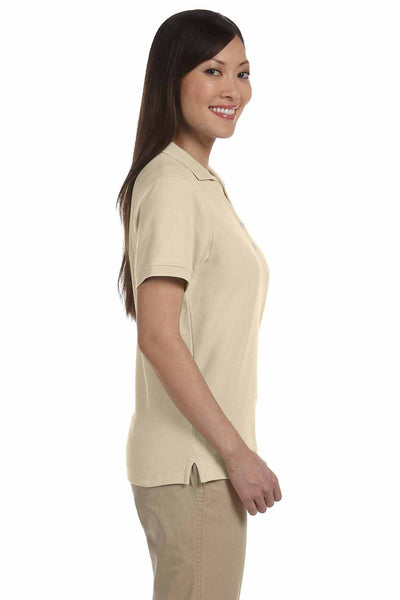 Devon & Jones D100W Stone Brown Pima Cotton Pique Short Sleeve Polo Shirt Side