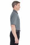 Devon & Jones DG220 Heather Navy Blue Pima Tech Oxford Pique Blend Short Sleeve Polo Shirt Side