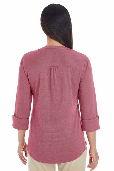 Devon & Jones DG230W Burgundy Central Melange Blend Knit 3/4 Sleeve Shirt Back