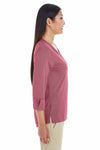 Devon & Jones DG230W Burgundy Central Melange Blend Knit 3/4 Sleeve Shirt Side