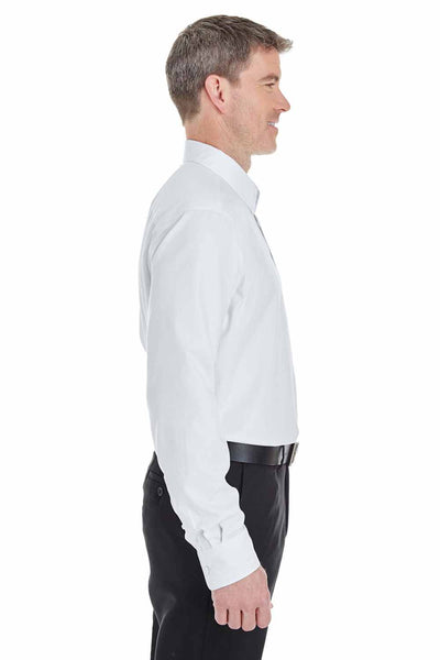 Devon & Jones DG532 White Crown Collection Royal Dobby Blend Long Sleeve Button Down Shirt Side