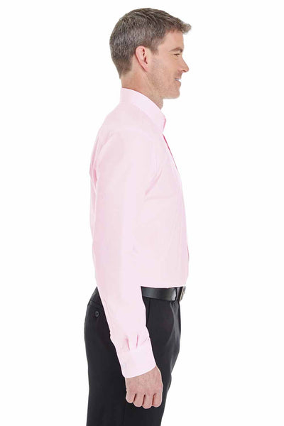 Devon & Jones DG534 Pink Crown Collection Blend Striped Long Sleeve Button Down Shirt Side