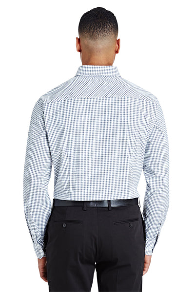 Devon & Jones DG540 Navy Blue/White CrownLux Performance Blend Micro Windowpane Long Sleeve Button Down Shirt Back