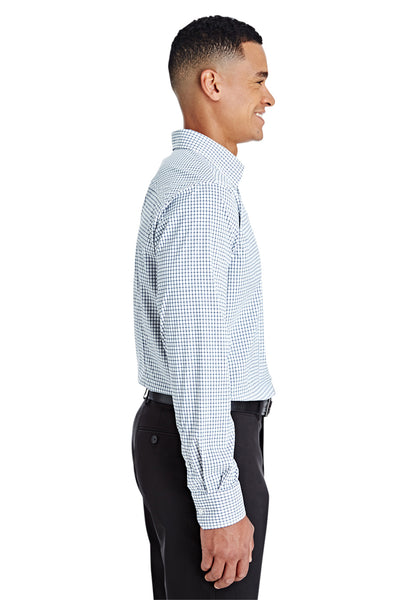 Devon & Jones DG540 Navy Blue/White CrownLux Performance Blend Micro Windowpane Long Sleeve Button Down Shirt Side