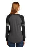 District DM477 Heather Charcoal Grey/Black/Silver Grey Game Blend Long Sleeve V-Neck T-Shirt Back