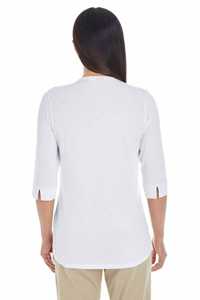 Devon & Jones DP188W White Perfect Fit Tailored Triblend 3/4 Sleeve Polo Shirt Back