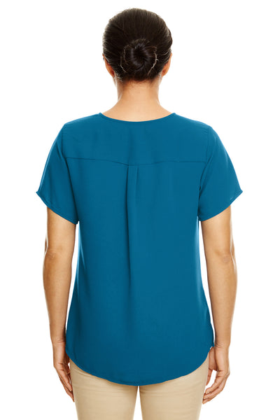 Devon & Jones DP612W Teal Blue Perfect Fit Polyester Crepe Blouse Back