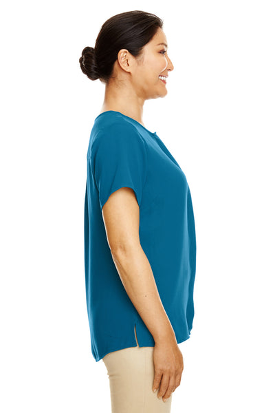 Devon & Jones DP612W Teal Blue Perfect Fit Polyester Crepe Blouse Side