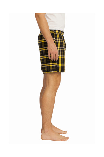 District DT1801 Gold Cotton Flannel Plaid Boxer Shorts Side