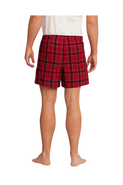 District DT1801 Red Cotton Flannel Plaid Boxer Shorts Back