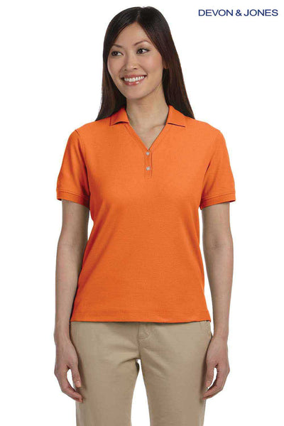 Devon & Jones D100W Orange Pima Cotton Pique Short Sleeve Polo Shirt Front