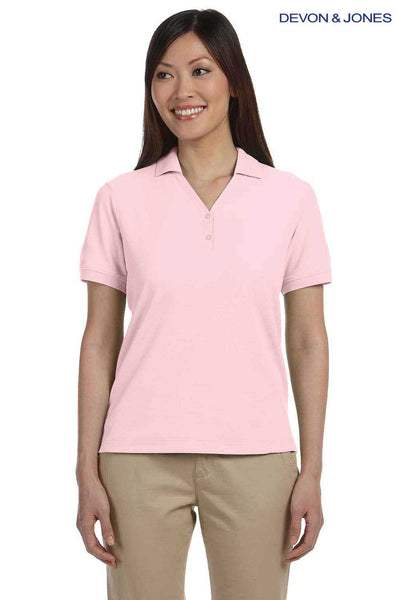 Devon & Jones D100W Pink Pima Cotton Pique Short Sleeve Polo Shirt Front
