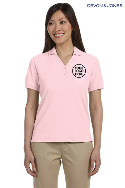 Devon & Jones D100W Pink Pima Cotton Pique Short Sleeve Polo Shirt Logo