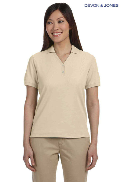 Devon & Jones D100W Stone Brown Pima Cotton Pique Short Sleeve Polo Shirt Front