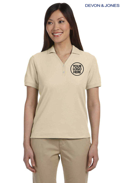Devon & Jones D100W Stone Brown Pima Cotton Pique Short Sleeve Polo Shirt Logo