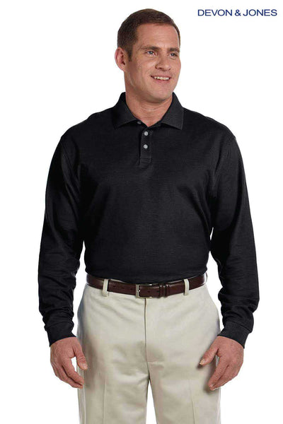 Devon & Jones D110 Black Pima Cotton Pique Long Sleeve Polo Shirt Front