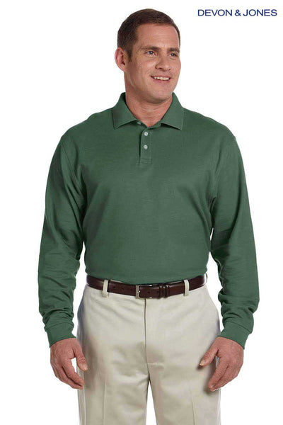 Devon & Jones D110 Dill Green Pima Cotton Pique Long Sleeve Polo Shirt Front