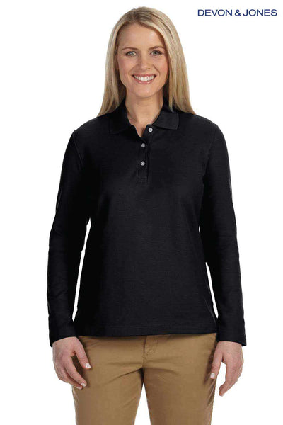 Devon & Jones D110W Black Pima Cotton Pique Long Sleeve Polo Shirt Front