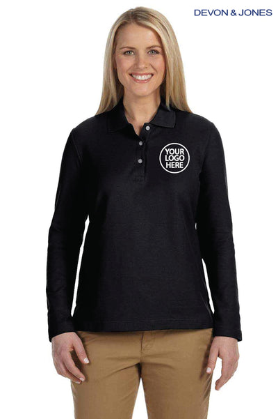Devon & Jones D110W Black Pima Cotton Pique Long Sleeve Polo Shirt Logo