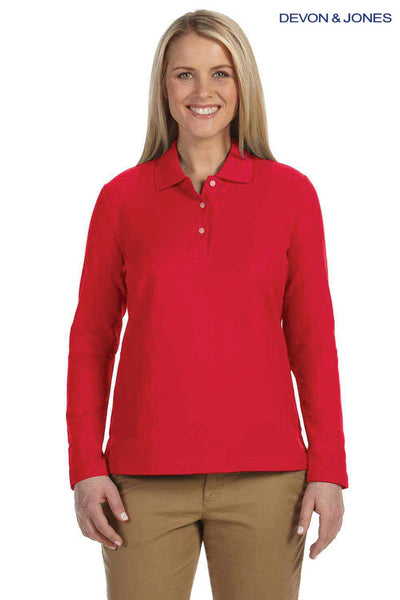 Devon & Jones D110W Red Pima Cotton Pique Long Sleeve Polo Shirt Front