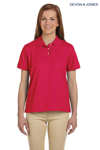 Devon & Jones D112W Red Pima Cotton Pique Short Sleeve Polo Shirt Front