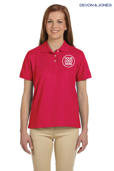 Devon & Jones D112W Red Pima Cotton Pique Short Sleeve Polo Shirt Logo