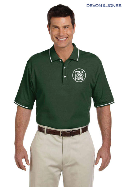 Devon & Jones D113 Forest Green Pima Cotton Pique Tipped Short Sleeve Polo Shirt Logo