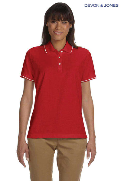 Devon & Jones D113W Red Pima Cotton Pique Tipped Short Sleeve Polo Shirt Front