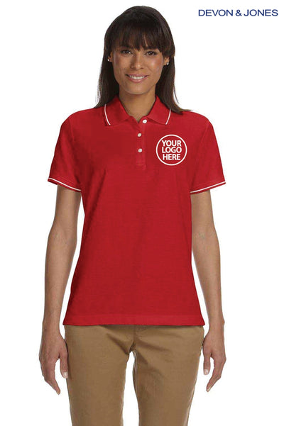 Devon & Jones D113W Red Pima Cotton Pique Tipped Short Sleeve Polo Shirt Logo