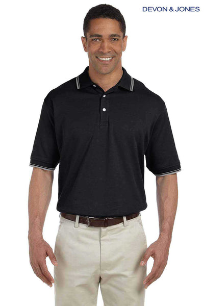 Devon & Jones D140 Black Perfect Pima Cotton Interlock Tipped Short Sleeve Polo Shirt Front