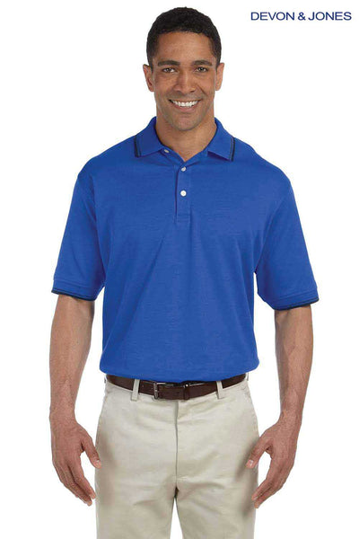Devon & Jones D140 French Blue Perfect Pima Cotton Interlock Tipped Short Sleeve Polo Shirt Front