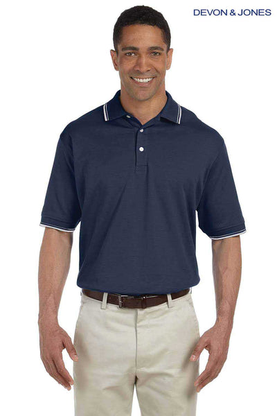 Devon & Jones D140 Navy Blue Perfect Pima Cotton Interlock Tipped Short Sleeve Polo Shirt Front
