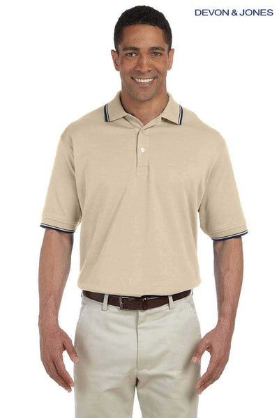 Devon & Jones D140 Stone Brown Perfect Pima Cotton Interlock Tipped Short Sleeve Polo Shirt Front