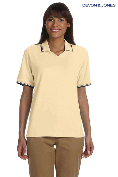 Devon & Jones D140W Butter Yellow Perfect Pima Cotton Interlock Tipped Short Sleeve Polo Shirt Front