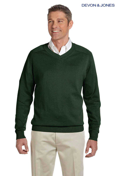 Devon & Jones D475 Forest Green Cotton Long Sleeve V-Neck Sweater Front