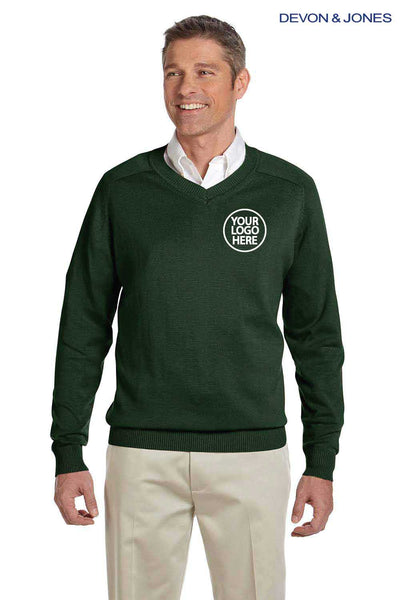Devon & Jones D475 Forest Green Cotton Long Sleeve V-Neck Sweater Embroidery